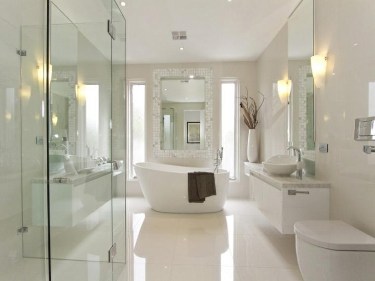 Baños Modernos Blanco:diseño baños modernos blanco iluminado cristal
