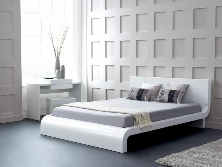 diseño blanco armario madera cama