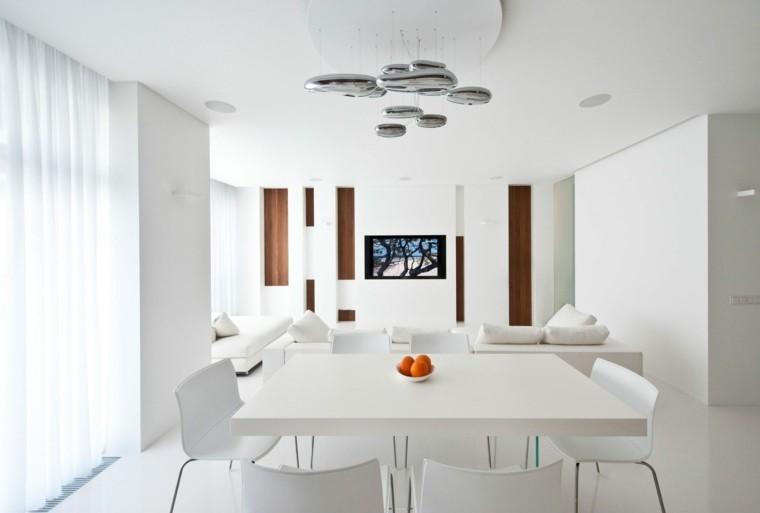 diseño blanco comedor cortinas lamparas