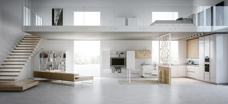 diseño blanco escaleras madera suelo