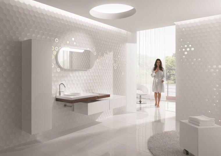 diseño blanco lujo baño espejo