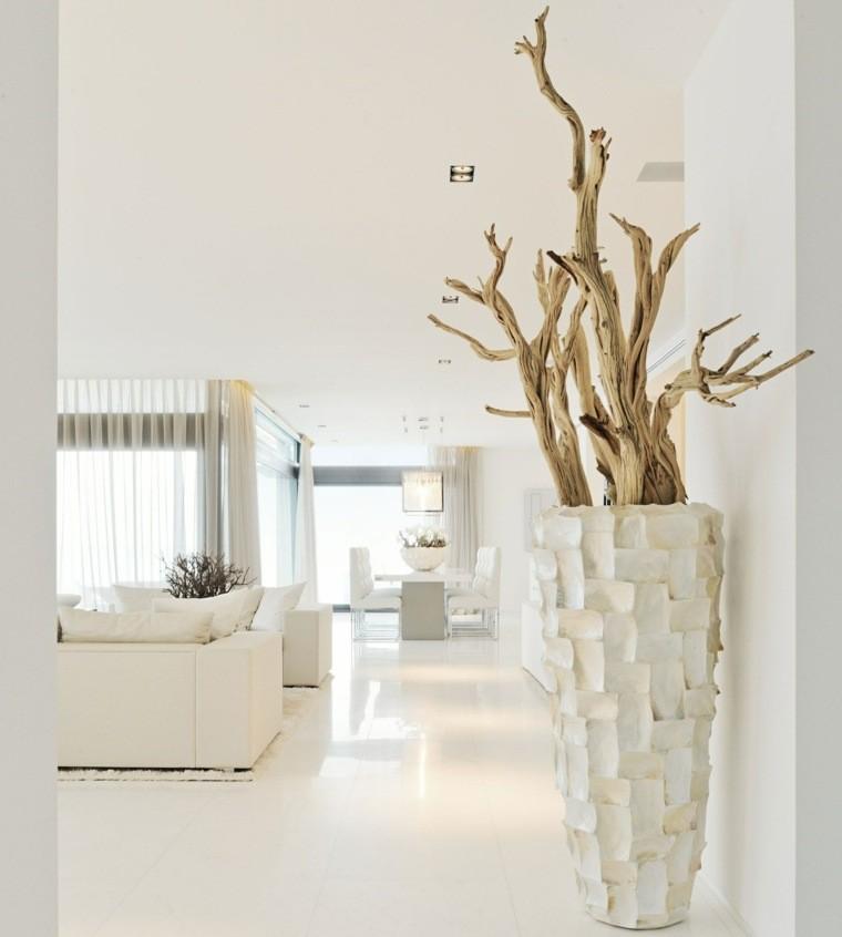diseño blanco ramas secas macetero