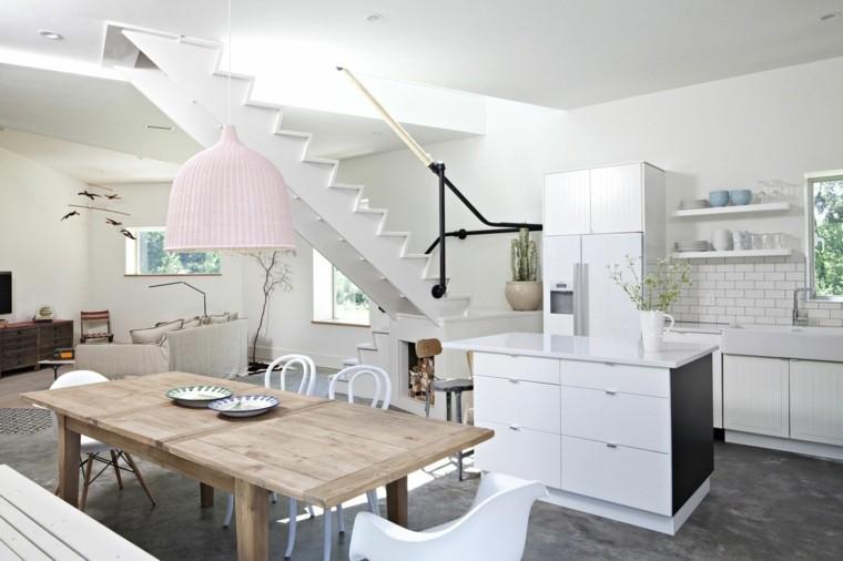 diseño blanco sillas cocina isla