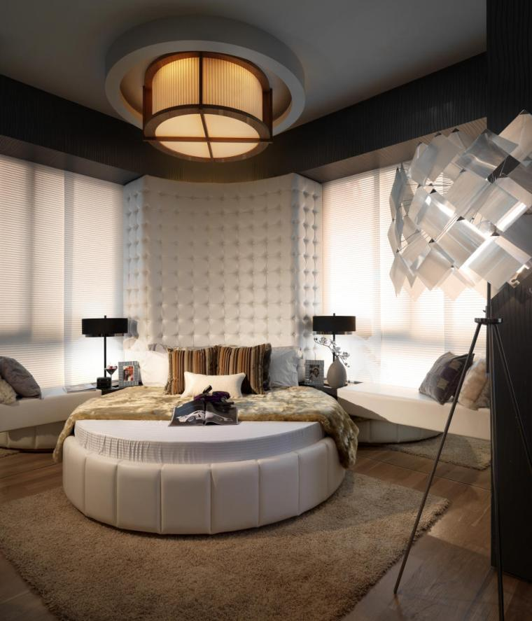 diseño cama redonda moderna capitone