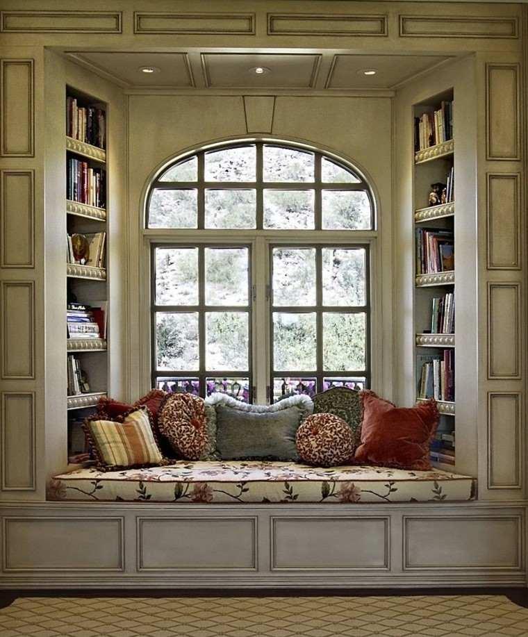 diseño clasico cojines banco ventana