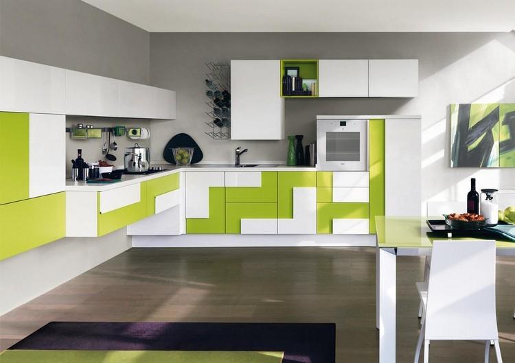 diseño cocina blanco y verde