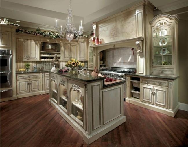 diseño cocina clasica lujosa beige