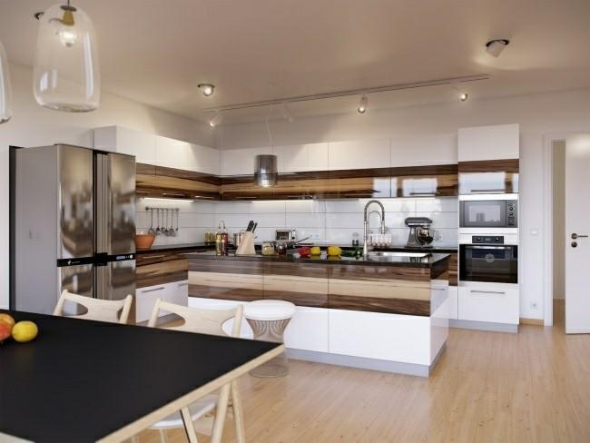 diseño cocina moderna laminado madera