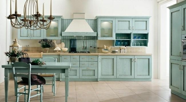 diseño cocina retro color celesete