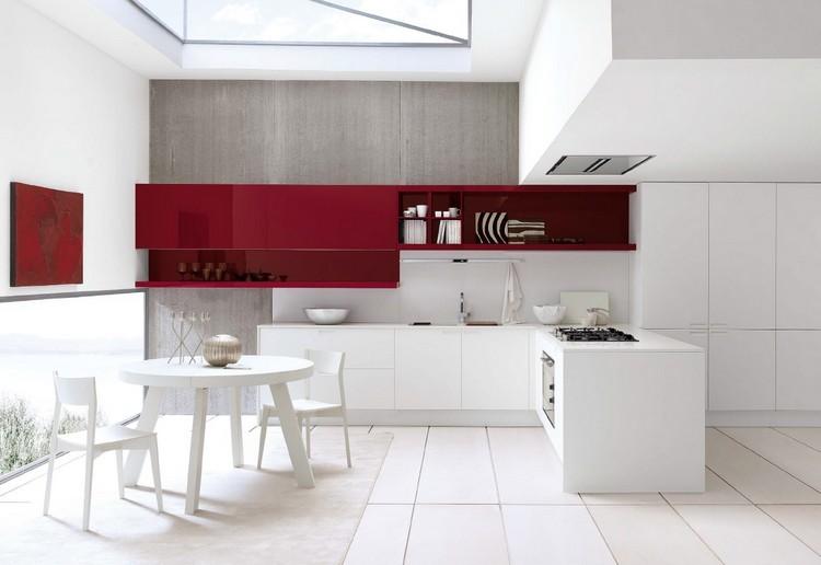diseño cocina rojo vino blanco