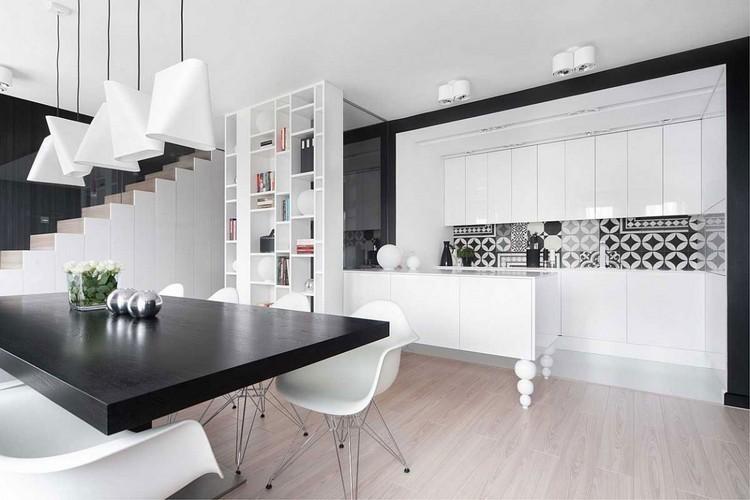 diseño cocina moderna blanco negro