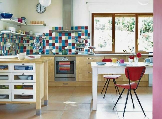 diseño cocina moderna azulejos colores