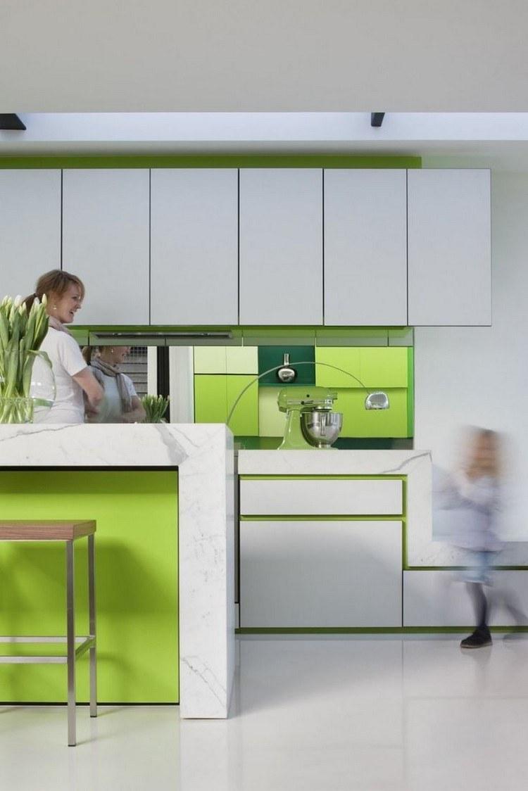 diseño cocina color blanco verde