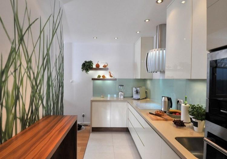diseño cocina blanco aguamarina papel