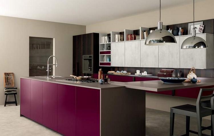 diseño cocina burdeos gris oscuro