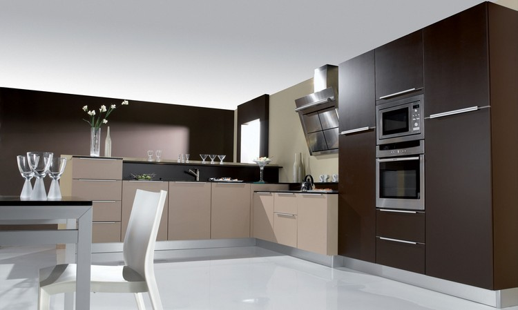 diseño cocina moderna color marron