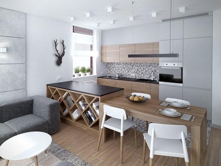 diseño cocina color gris madera