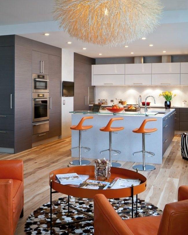 diseño cocina color gris naranja