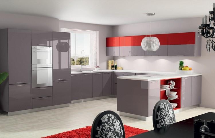 diseño cocina color gris rojo