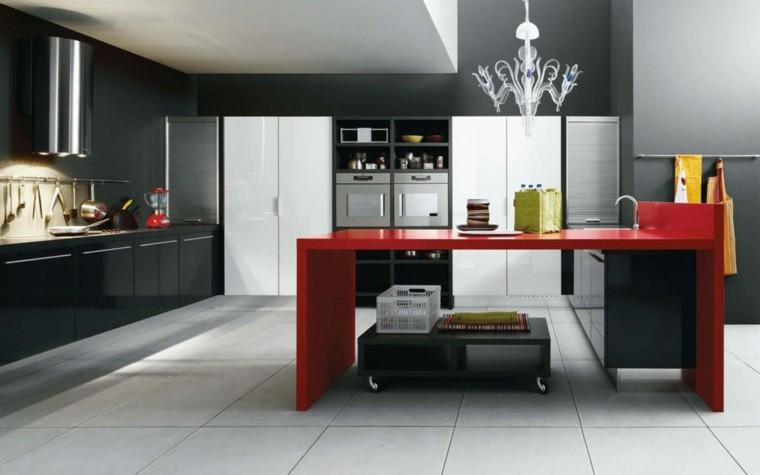 diseño cocina isla roja brillo