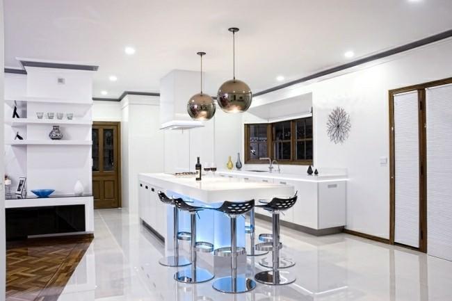 diseño cocina lujosa moderna blanca