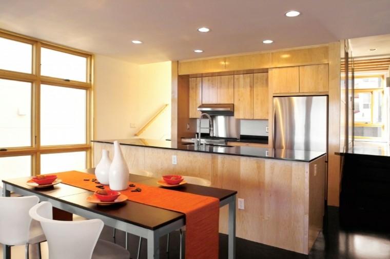 diseño cocina mantel color naranja