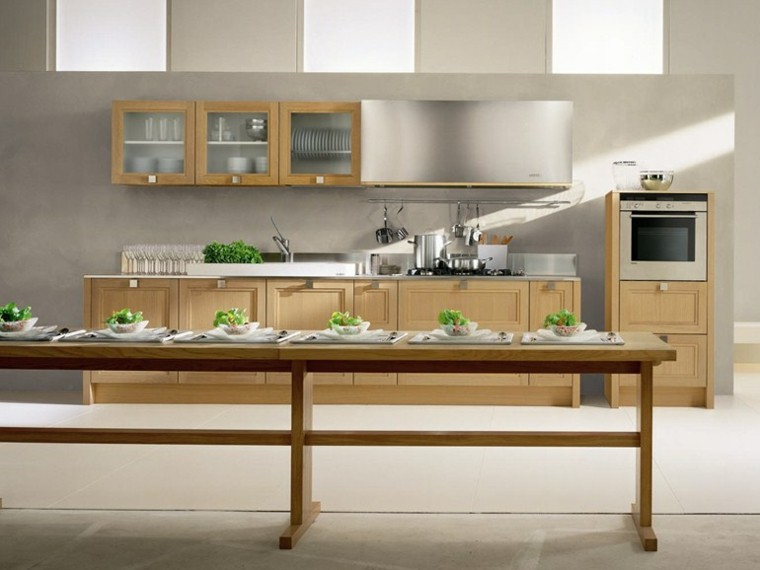diseño cocina mesa larga madera