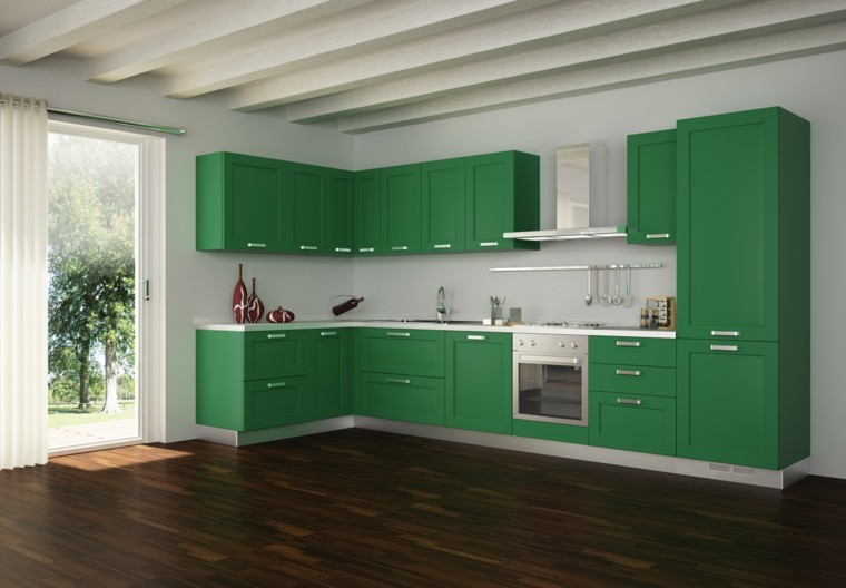 diseño cocina moderna color verde