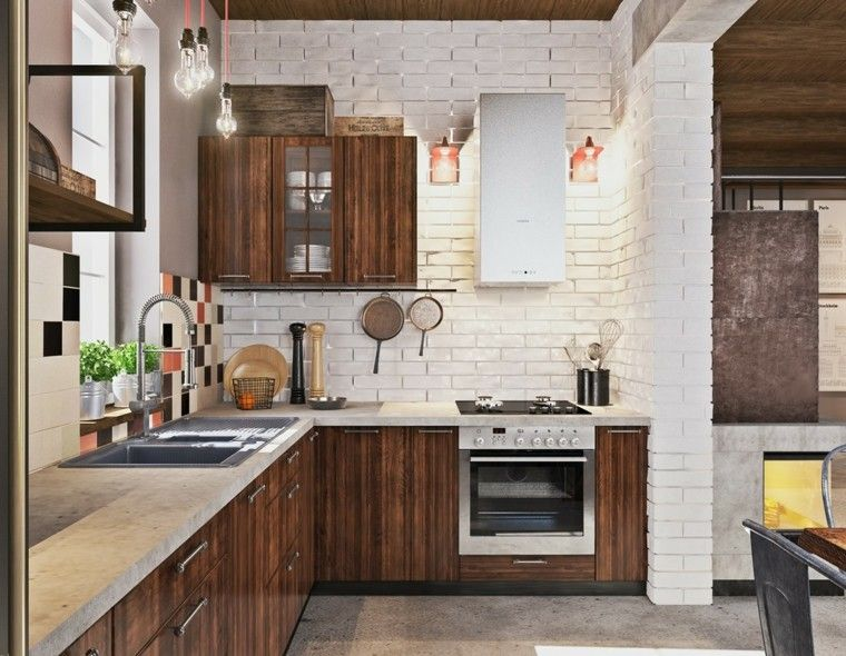 diseño cocina pared ladrillo visto