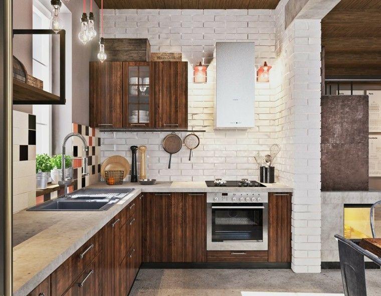 Cemento pulido o sin pulir para apartamentos modernos - Cocinas con ladrillo visto ...