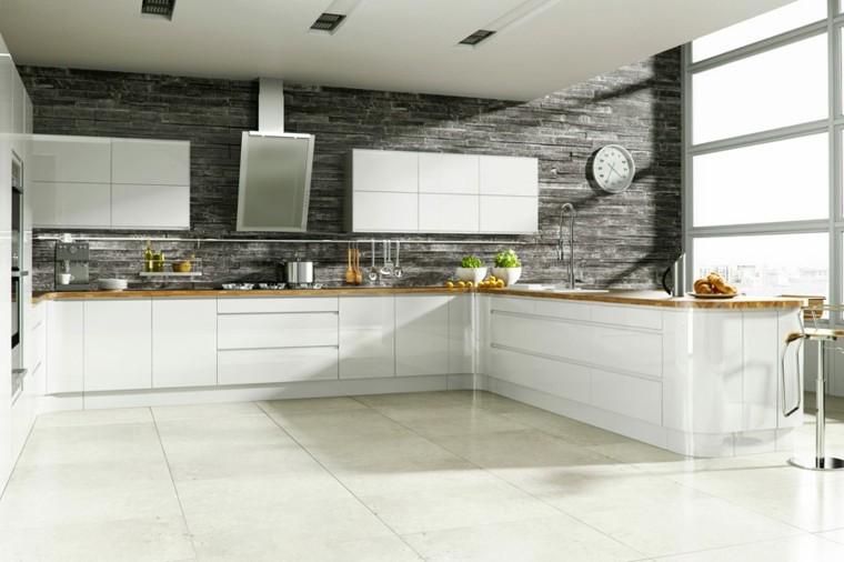 diseño cocina pared relieve piedra