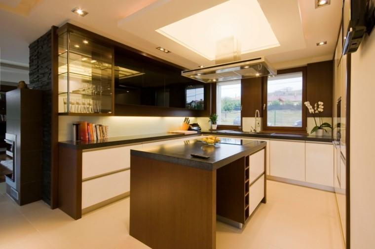 diseño cocina pequeña isla madera