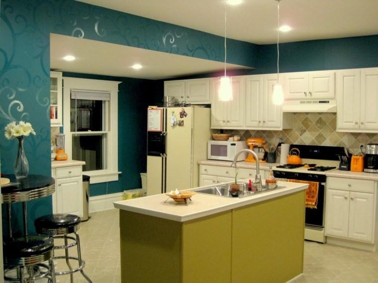 diseño cocina pintada color añil
