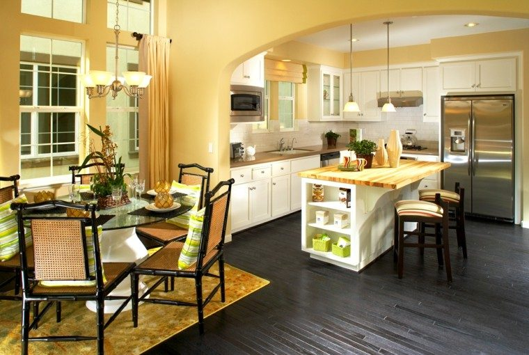 Cocinas pintadas con los colores de moda 50 ideas What color cabinets go with yellow walls