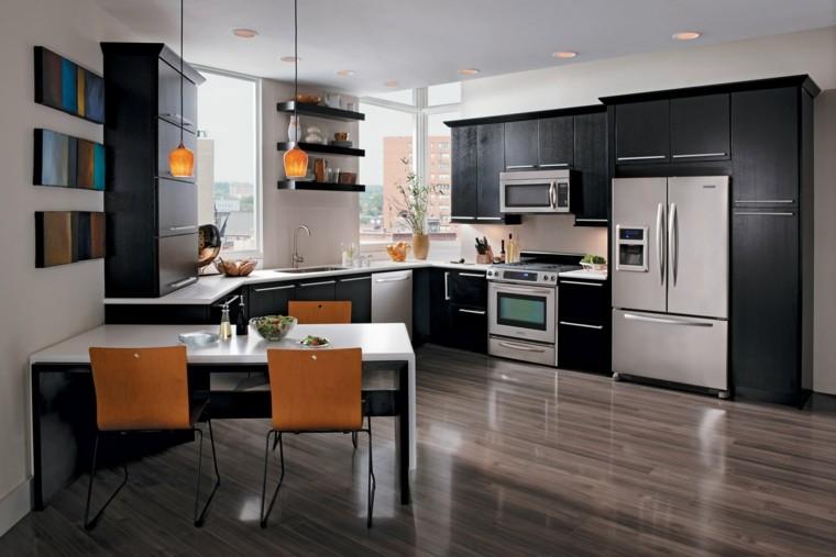 diseño cocina sillas color naranja