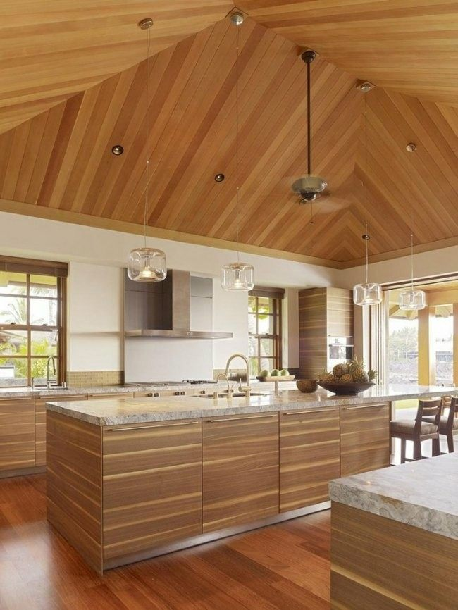 diseño cocina todo madera techo