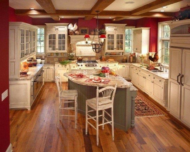 diseño cocina estilo tradicional roja