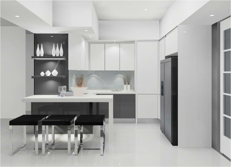 diseo cocina tres taburetes negros with diseo de cocinas modernas fotos