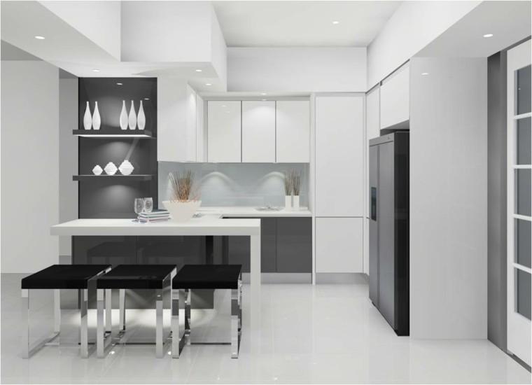 diseño cocina tres taburetes negros