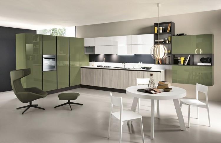 diseño cocina muebles verde oliva