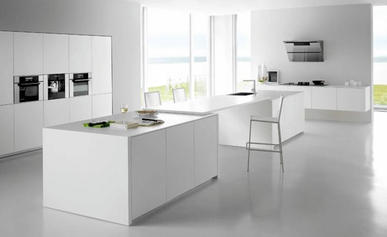 diseño cocinas blancas creativo negro taburete