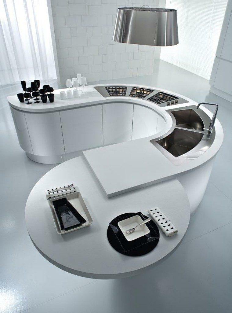 diseño cocinas blancas cubiertos negro arco