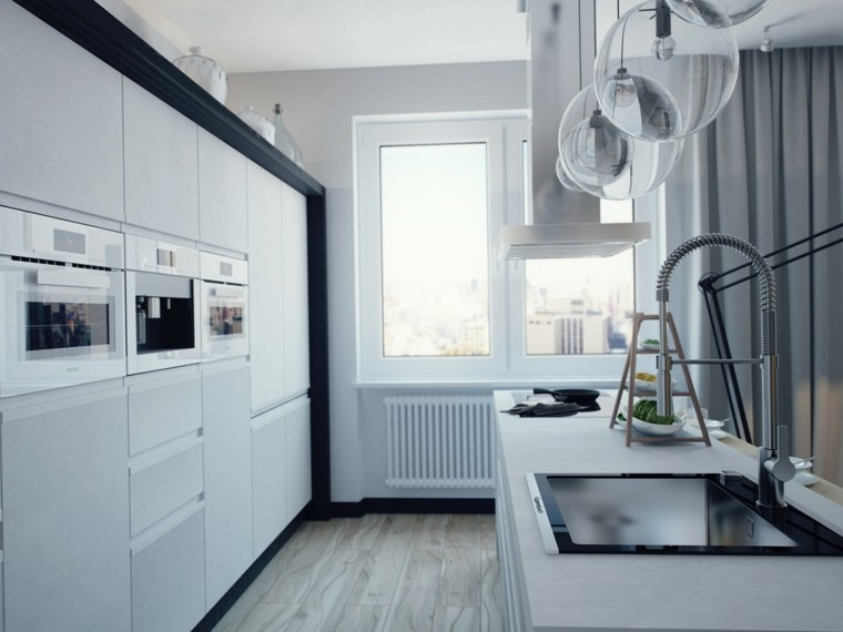 diseño cocinas blancas fregadero mueble oscuro