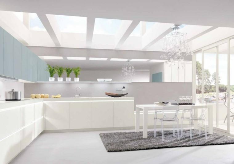 diseño cocinas blancas fresca plantas maceta