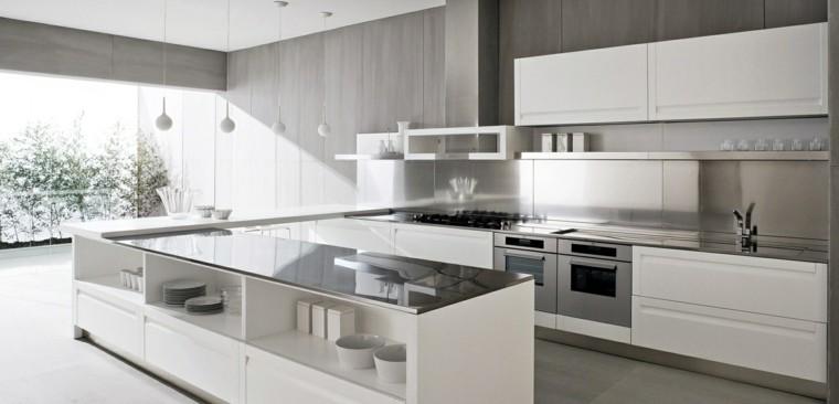 diseño cocinas blancas gabinetes blancos lamparas