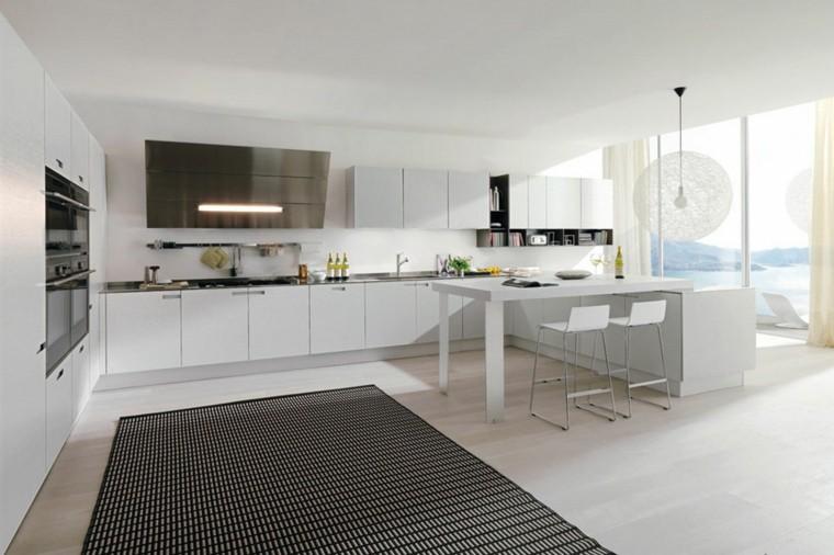 diseño cocinas blancas sendero negras lamparas
