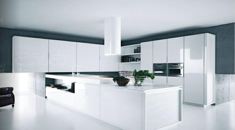 diseño cocinas blancas sofa cuero plantas