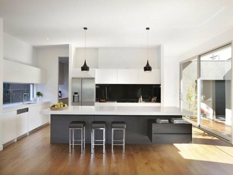 diseño cocinas blancas suelo plantas madera