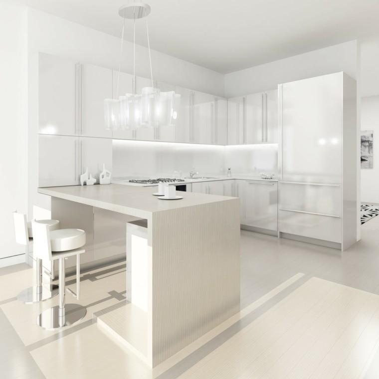 diseño cocinas blancas taburetes respaldo iluminado