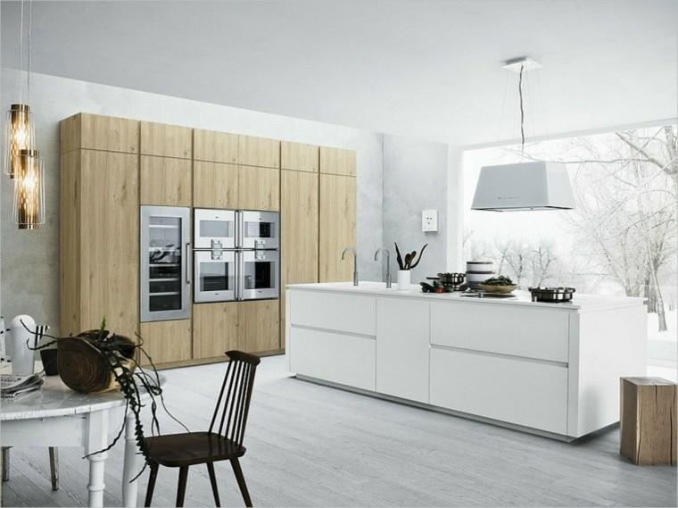 Color blanco y madera de roble para las cocinas modernas Disenos de cocinas integrales blancas